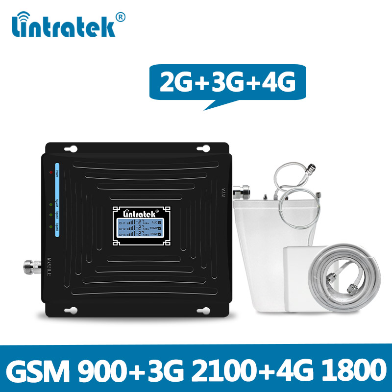 Lintratek 2G 3G 4G Mobile Signal Amplifier 900 1800 2100 GSM DCS WCDMA LTE Signal Booster Triband Cellphone Cellular Repeater @5