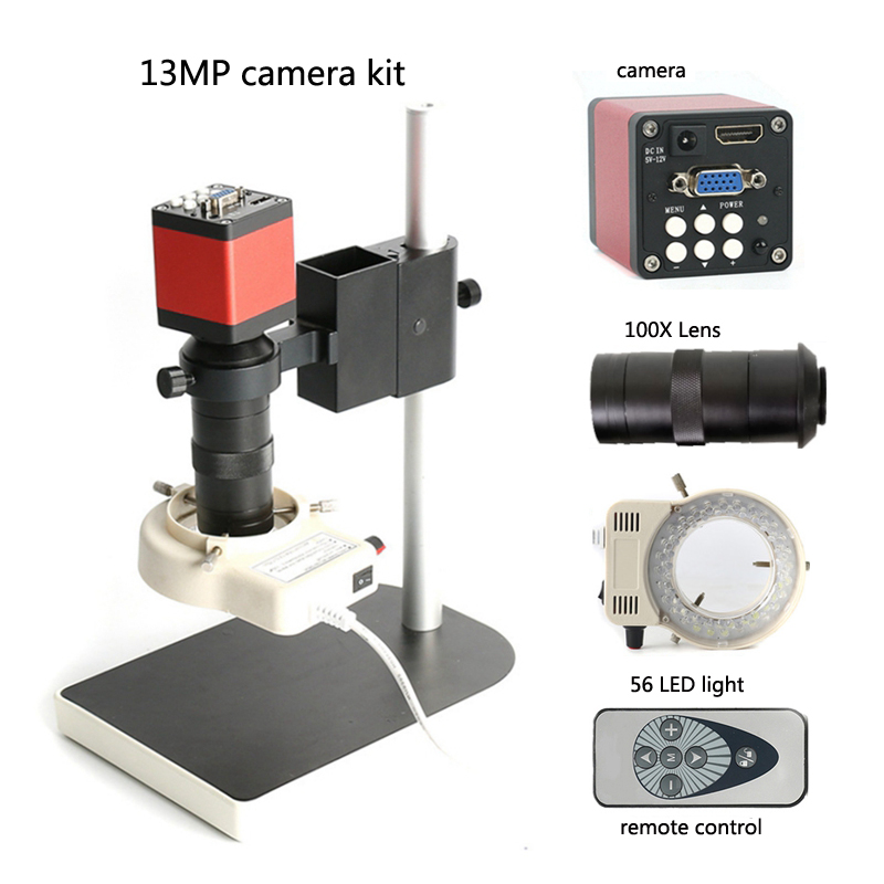 Microscope 13MP HDMI microscope industrial camera combination 100X lens infrared remote control digital electronics