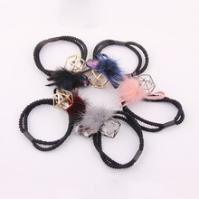 Candygirl Women Girl Hair Ties Scrunchie Elastic Ribbon Rubber Band with Hairball Crystal Hollow Accessories Rope