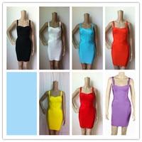 7 Colors New Fashion White Sleeveless Sling Bandage Dress Short Evening Party Bodycon Dress