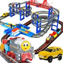 Hot Thom Trens Trens Set Com Multi Função Elétrica Tráfego Brinquedos Trilha do Trem Para Crianças Meninos Crianças Brinquedos oyuncak araba