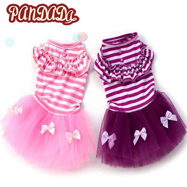 Romantic Summer Dog Bubble Skirt Stripe Lace Dress Pet Dog Clothes For Small Dog Wedding Dress Skirt Puppy Clothing Spring Fashion Hot Making Things Convenient For Customers Dog Clothing & Shoes