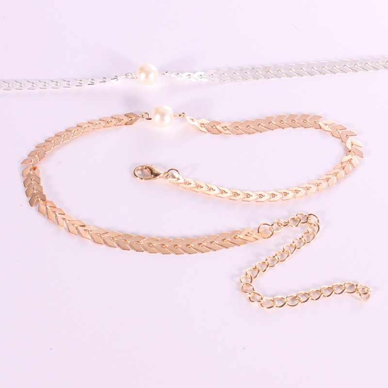 Bijoux transfrontaliers personnalité Simple Euro Fanchao argent bijoux lettre V chaîne perle suspendue Simple clavicule chaîne