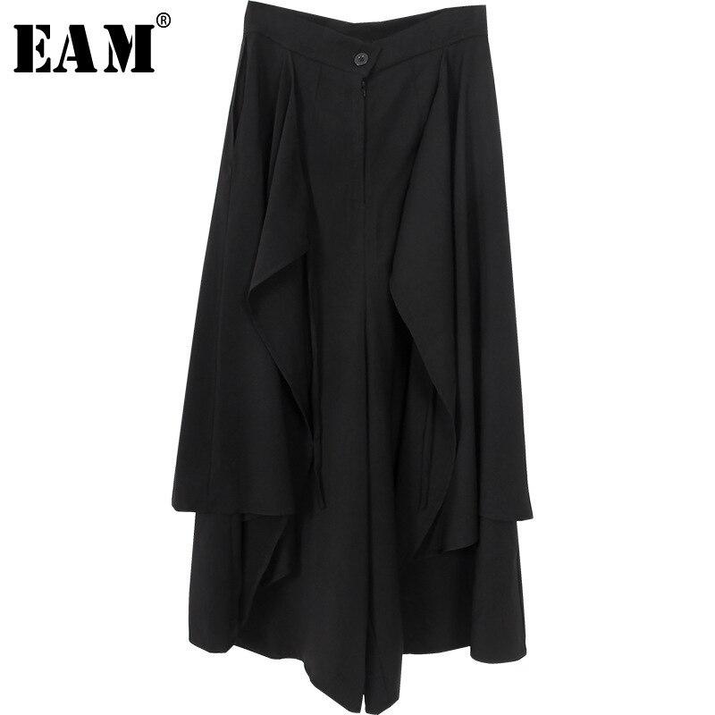 [EAM] 2019 New Autumn Winter High Waist Black Loose Pockets Button Spliced   Wide     Leg     Pants   Women Fashion Trousers All-match JY508