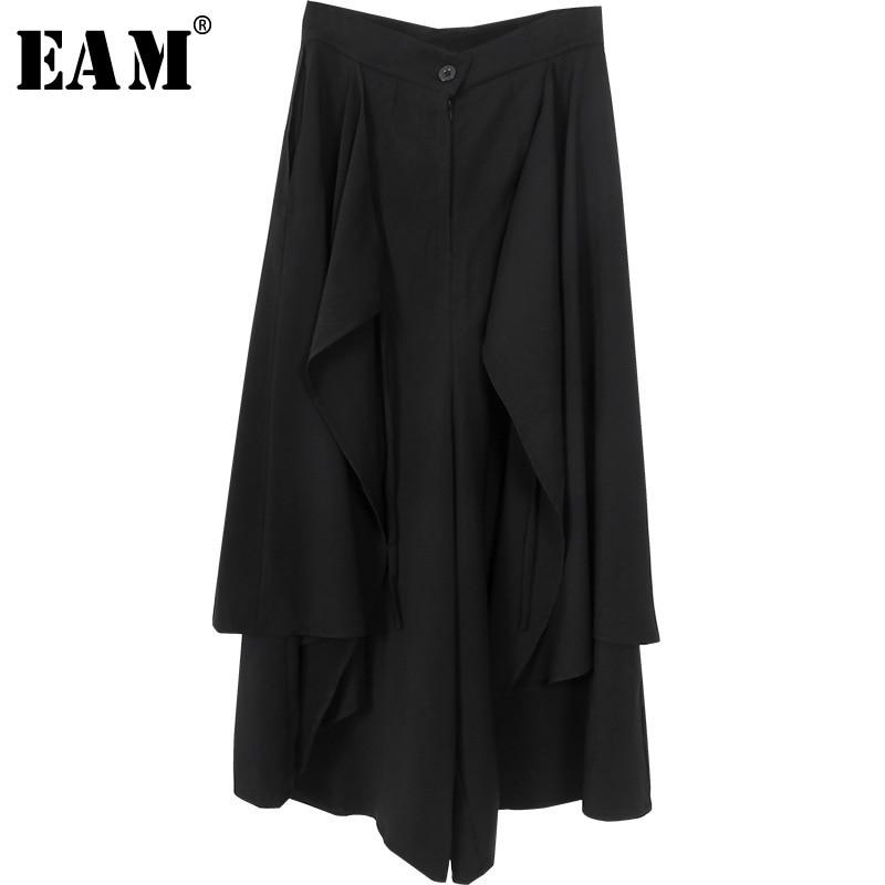 [EAM] 2020 New Autumn Winter High Waist Black Loose Pockets Button Spliced Wide Leg Pants Women Fashion Trousers All-match JY508
