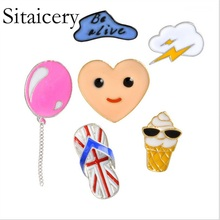 Sitaicery Cartoon Balloon Clouds Heart Smile Face Ice Cream Slippers Brooch Metal Enamel Pins Button Bag Badge Womens