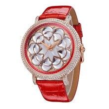De luxe SWA Cristal Floral Montres HK Davena Marque 45 MM Grande Taille Femmes Robe Montre-Bracelet En Cuir Véritable Shell Analogique Relojes WA157