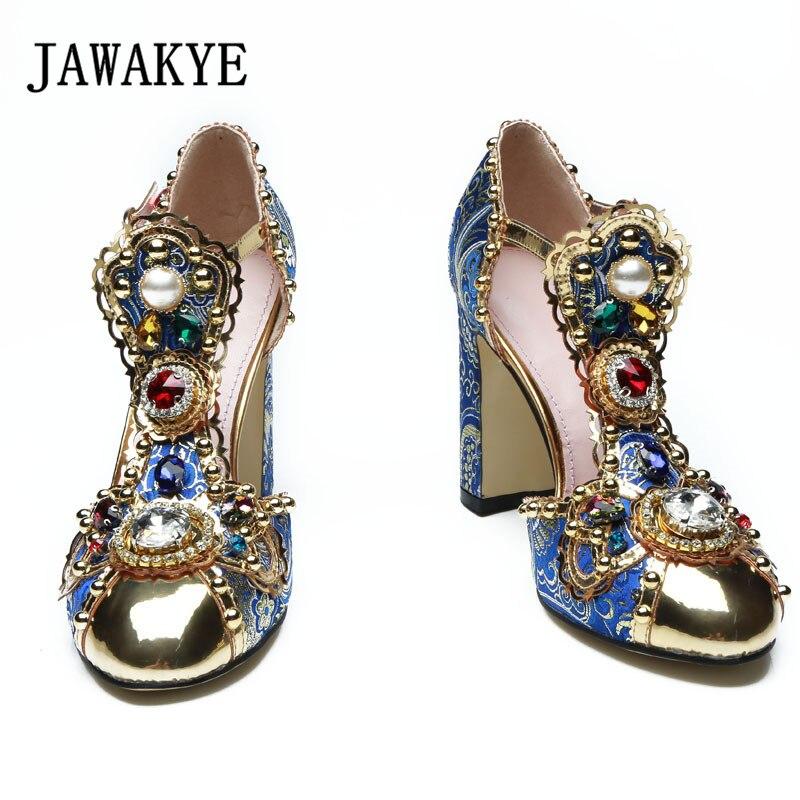 2019 sandalias de gladiador de diamante hechas a mano para mujer Zapatos de tacón alto bordados con diamantes de imitación de flores de punta de Metal para mujer-in Sandalias de mujer from zapatos    3