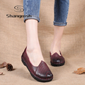 Women Genuine Leather Flat Shoes Loafers Female Solid Comfortable Casual Shoes Soft Real Leather Handmade Women Flats