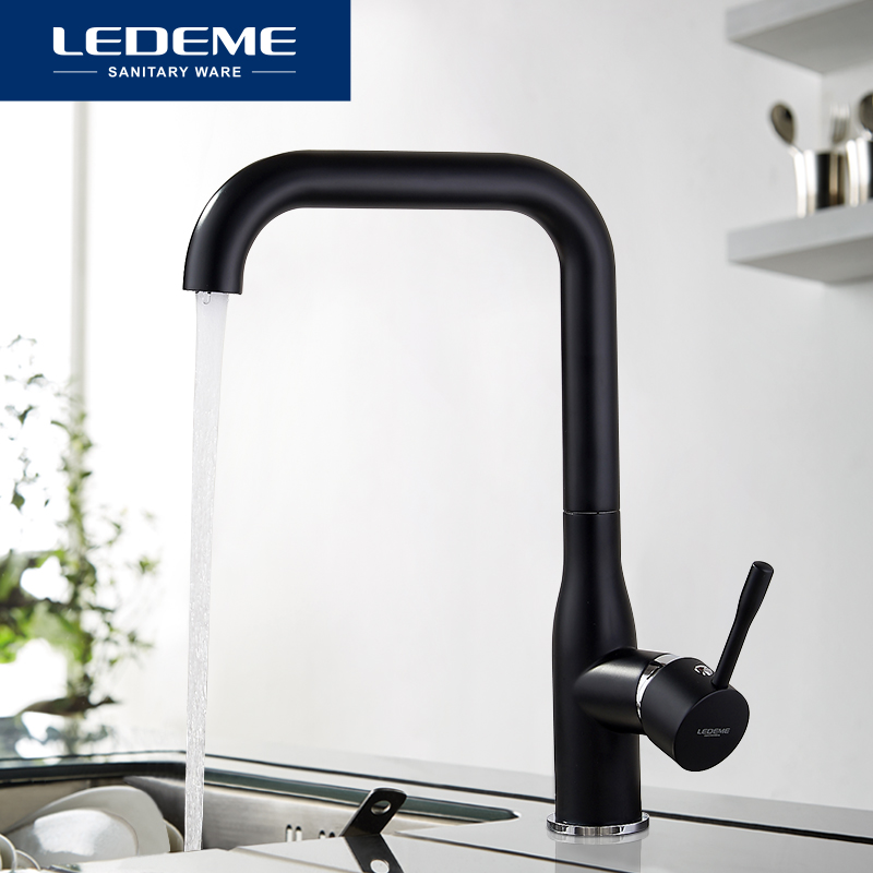 LEDEME Spray paint Swivel Kitchen Faucet Brass material Cozinha Torneira Deck Mounted Single Hole Faucets Mixer Tap L4698