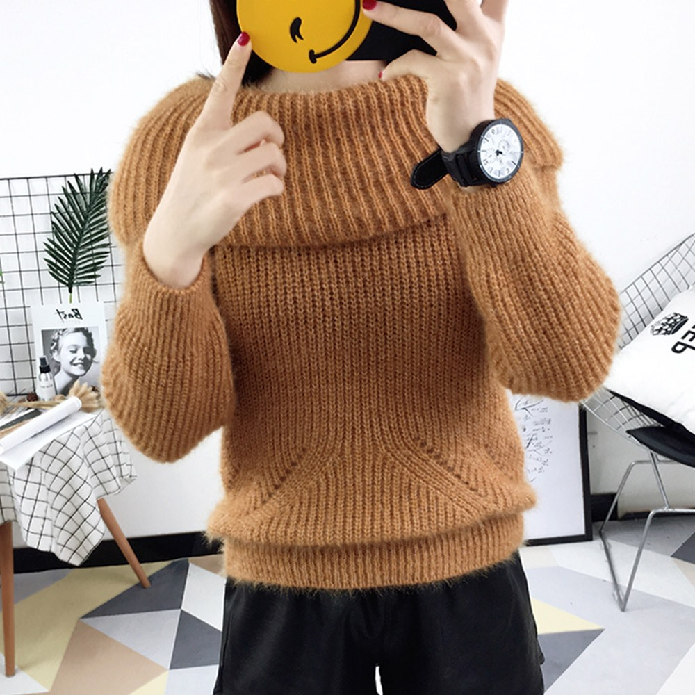 2018 Winter Casual Elegant Beige Office Lady Vintage Women Tops Slim Thick Plain Slash Neck Female Fashion Gray Sweet Sweaters 3