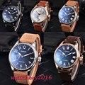 Часы Parnis с черным циферблатом  44 мм  повседневные мужские механические часы с кожаным ремешком  17 драгоценностей  механические мужские часы ...
