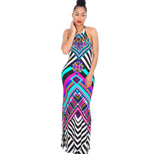2017 New Summer Plaid Maxi Dress Women Dashiki Sexy Backless Print Long African Dress Party Bodycon Bohemian Beach Dresses(China)