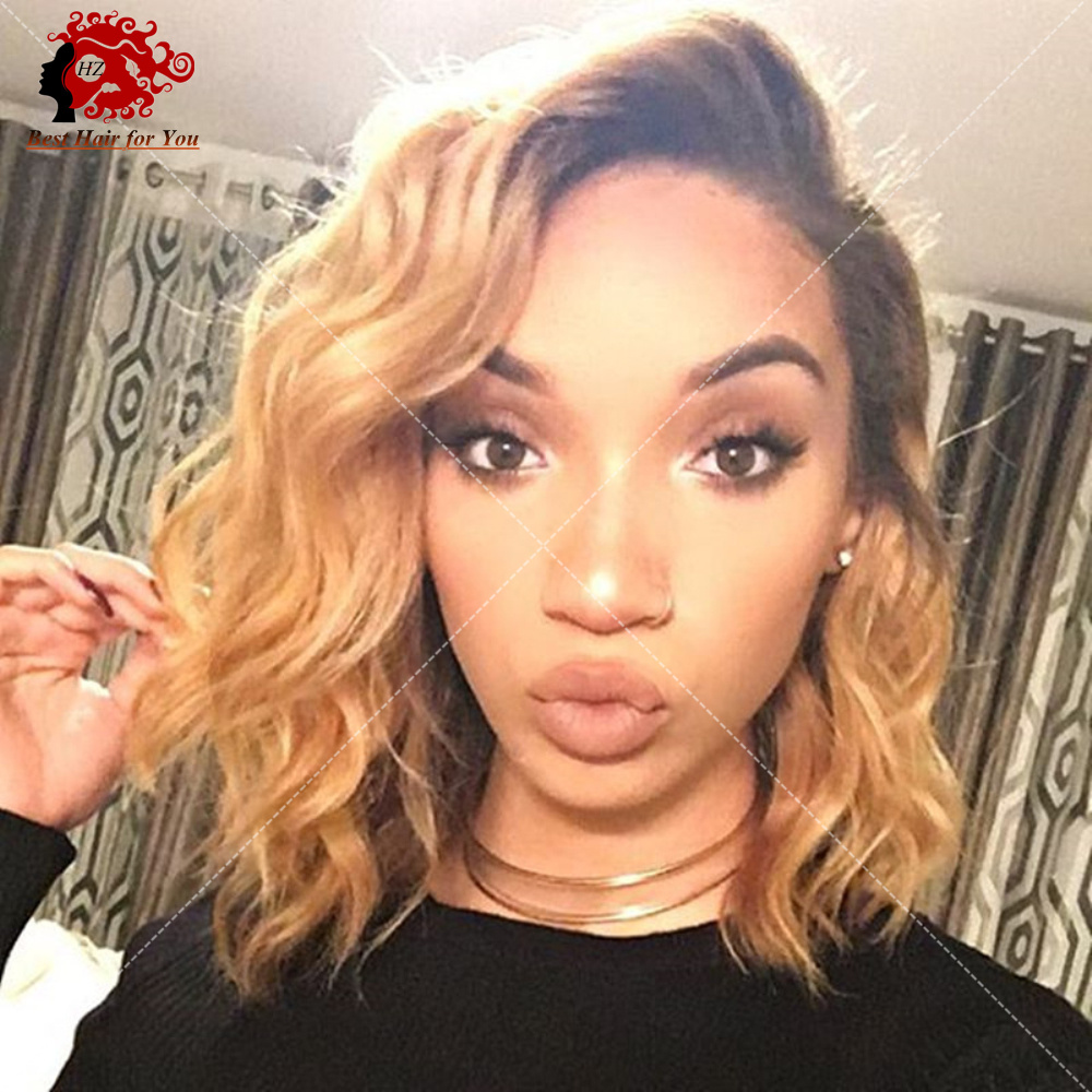 8a Lace Front Human Hair Bob Wigs For Black Women 1bt27
