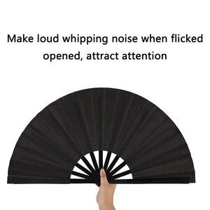 Image 5 - 2 pezzi di Grandi Dimensioni Pieghevole Fan Telo di Nylon Portatile Pieghevole Fan Cinese Kung Fu Tai Chi Fan Nero Decorazione Piega A Mano ventilatore Per Il Par