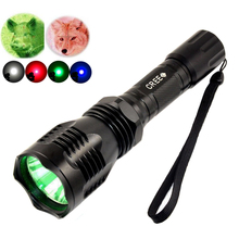 HS-802 1Mode 350Lumen 250 Yard Long Range Throwing LED Coyote Hog CREE RED/Green/Blue LED Tactical Hunting Light Flashlight Torc
