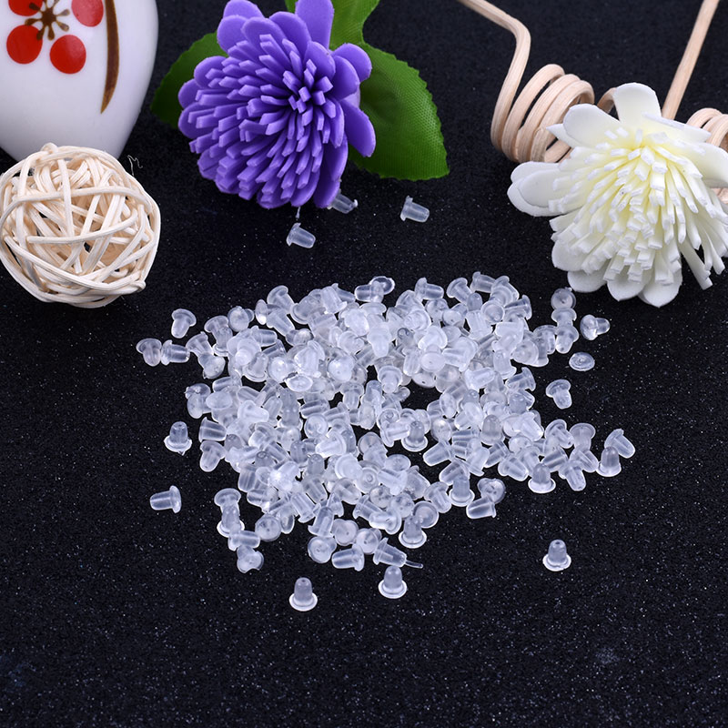 Plastic Earplugs 50PCS / Lot DIY Jewelry Plastic Earrings Accessories Plastic Rubber Earring Back Wholesale Drop Shipping Free