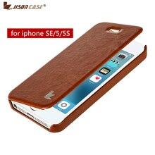 Jisoncase для iPhone SE 5S 5 PU кожаный чехол для 5S 5 чехол Роскошный флип-чехол телефон оболочка для iPhone se анти-стук