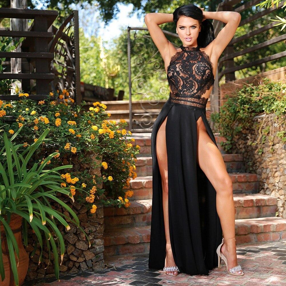 2019 nouveau rétro découpe licou cou Sexy Perspective dentelle mousseline de soie serré ouvert dos nu fente robe noir, rouge couleur S, M, L, XL