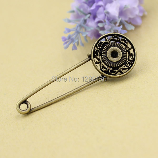 10pcs/lot Alloy Antique Bronze Vintage Round Brooch Safety Pins For Garment Accessories Scarf Clip pins Length:55mm (K02061)