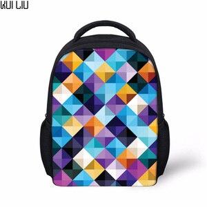 Индивидуальные изображения ромбовидная решетка шаблон рюкзаки Детский сад школьная задняя полупрозрачная печать mochila feminina