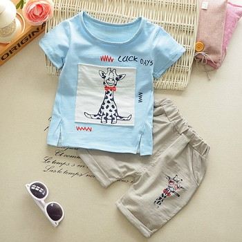 Infant Baby T-shirts Tops+Shorts 2PC Clothes Set New Boys Cute Short Sleeve Cartoon Giraffe Letter printing Children's Sets 2018 Boys Clothing Sets