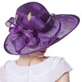 June'syoung Verano Nuevas Mujeres Sinamay Sinamay Sombreros Delicado Floral de Diamantes de plumas de Alta Calidad Elegante de la Señora sombreros de Ala