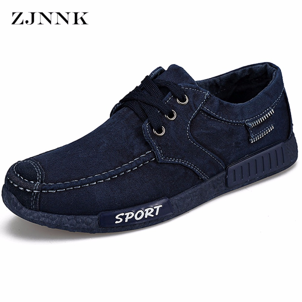 ZJNNK Lace Up Washed Denim Men Fashion Footwear Low Price Breathable Casual Shoes Easy To Match Popular Men Shoes 202