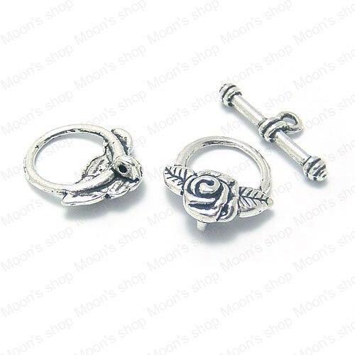 Wholesale O:20*15mm Antique Silver color Rose flower Alloy OT Bracelet clasp Jewelry DIY Components 30PCS(JM2282)