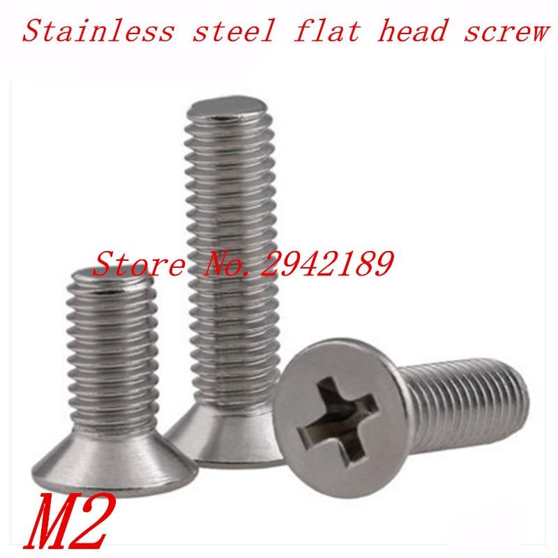 50pcs M2*4/5/6/8/10/12/16/20 2mm DIN965 A2 Stainless Steel FLAT head machine screw цена 2017