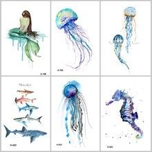 Wyuen Hot Design Jellyfish Temporary Tattoo for Adults Waterproof Tatoo Sticker Ocean Animal Women Body Art Fake Tattoo A6