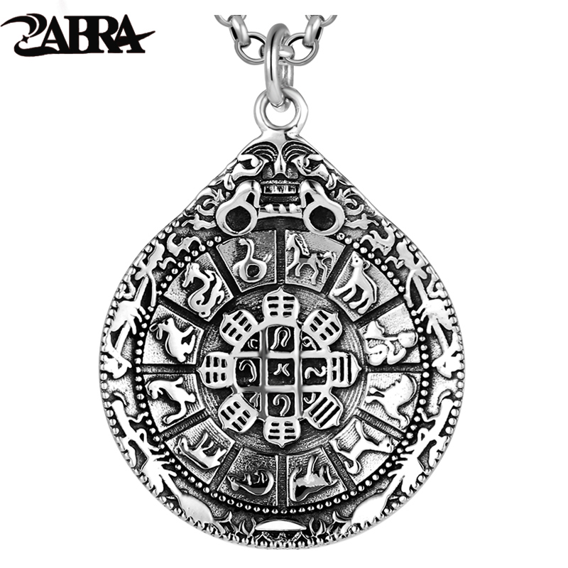 ZABRA Authentic 925 Sterling Silver Round Pendant Chinese Zodiac For Men Vintage Punk Rock Man Jewelry Buddhist Accessories