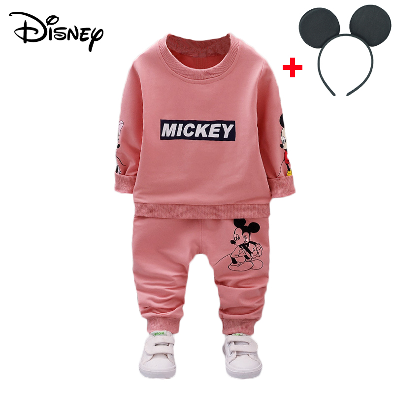 Disney Mickey Minnie Frozen Children Tracksuit For Boy Stripe Bib Pants Sport Suits Tops Pants Outfits Kids Bebes Jogging Suits Boys' Clothing Clothing Sets