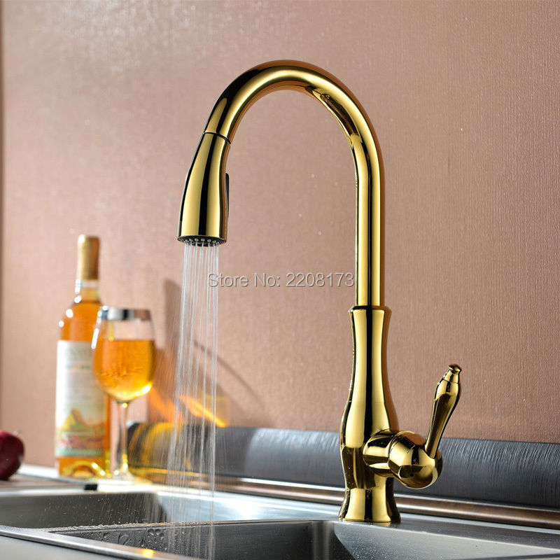 Luxury High Quality Gold Pull Out Sprayer Kitchen Bar Sink Faucet Hand Held Sprayer Mixer, Solid Brass