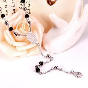 Image 4 - LUXUSTEEL Allah Muslim Arabic Printed Pendant Necklace Stainless Steel Long 66cm+10cm  Mixed Black Beaded Link Chains