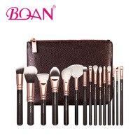 15Pcs Professional Makeup Brush Set Synthetic Nylon Hair Black Wood Handle Foundation Cosmetic Kit Freeshipping
