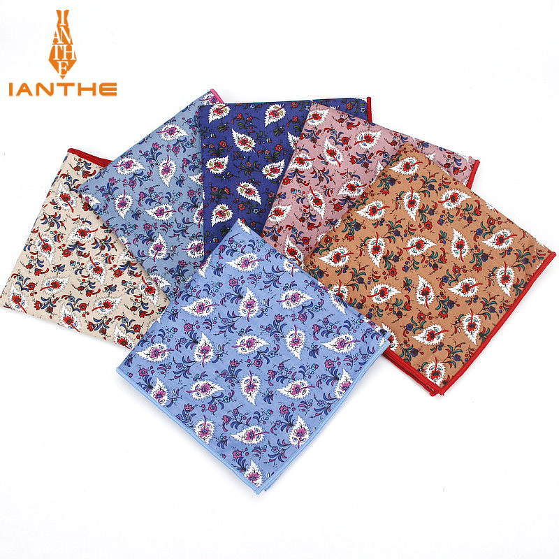 Luxury Brand New Style Hankerchief Scarves Vintage Cotton Hankies Men's Pocket Square Handkerchiefs Paisley Print Classic Hanky