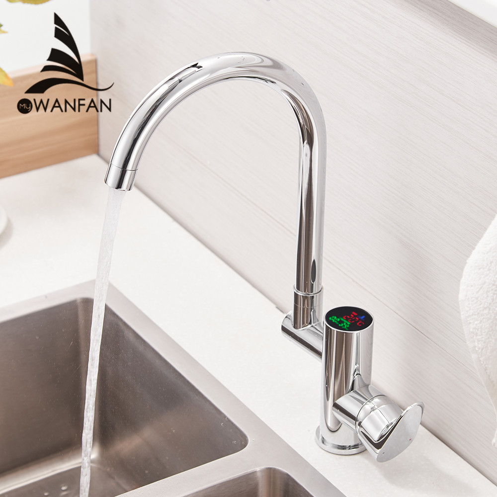 Kitchen Faucet Digital Kitchen Faucet Water Power Sink Mixer Brass Chrome Plated Temperate Display Faucet Smart Tap WF-16588