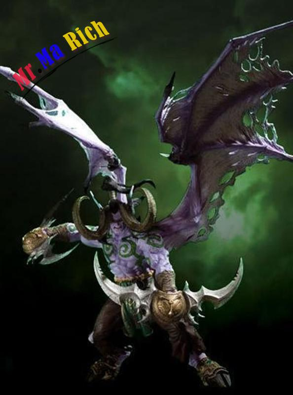 Online Game Character Action Figure Dc Unlimited Series 1 Deluxe Demon Hunter Illidan Storm Wow Pvc Figure 22cm