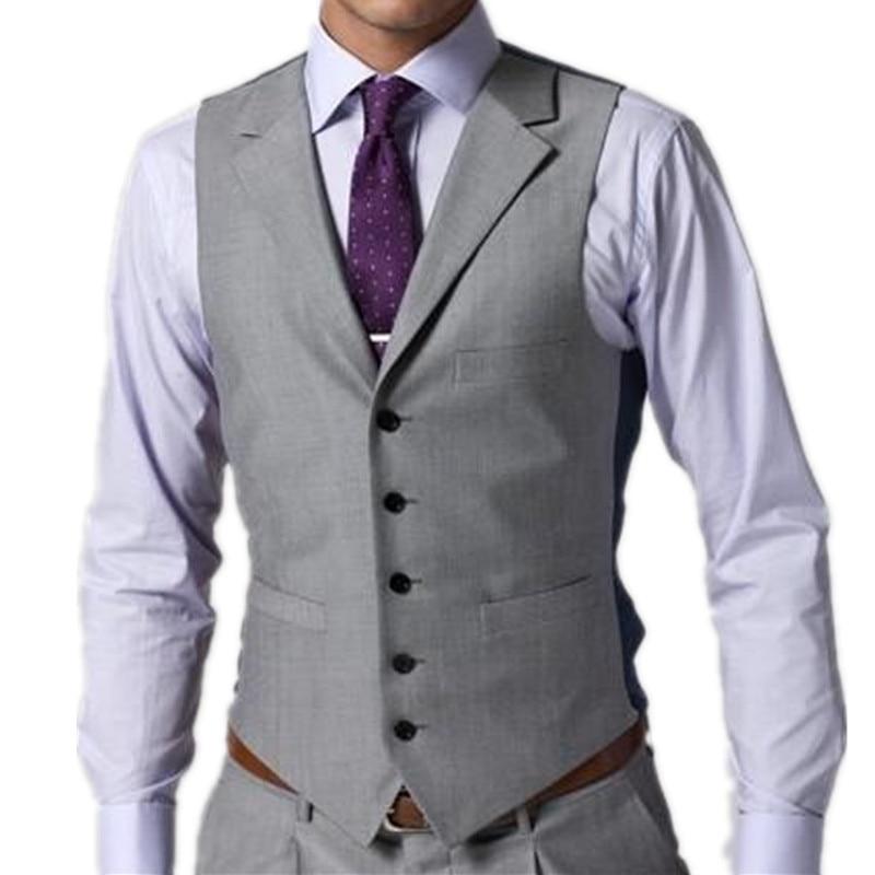 Suit Vest Groom Business-Suit Slim-Fit Waistcoat Men Wedding Casual Custom-Made