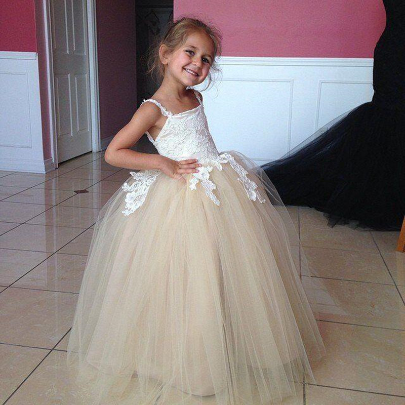 White Lace Appliques Tops   Flower     Girl     Dresses   Spaghetti Straps Tulle Ball Gown for Wedding Party Custom Made