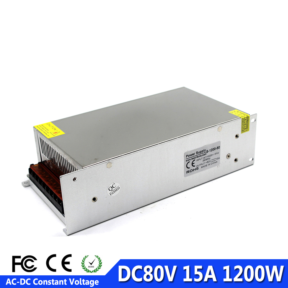 DC80V Switch Power Supply 15A 1200W SMPS Transformer AC110V 220V to DC 80V Power Source Driver