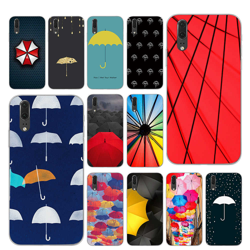 Colorful Rainbow Umbrella Phone Case for Huawei P30 P20 P10 Mate 10 20 Pro Lite Cover