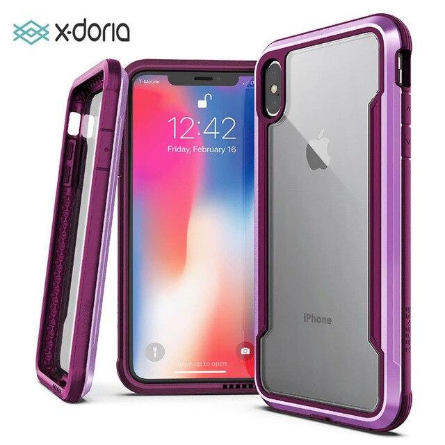 X Doria Verteidigung Schild Fall Für iPhone XR XS Max Military Grade Tropfen Geprüft Aluminium Fall Für iPhone X XS Max Schutzhülle