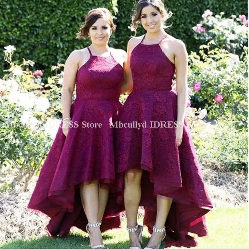 Burgundy Lace Hi-low   Bridesmaid     Dresses   2019 Elegant Halter Neck Long Maid Of Honor   Dress   Party For Women Cheap vestido madrinha
