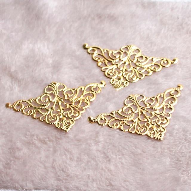 15Pcs Gold Filigree Wraps Flower Connectors Metal Crafts Connector
