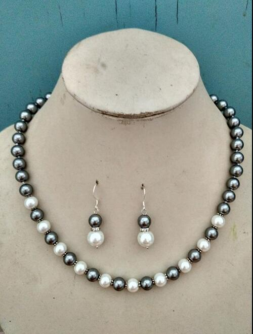 Women Jewelry Set 8mm 10mm black Gray & white mixed necklace + dangle hook earring real natural south sea shell pearl