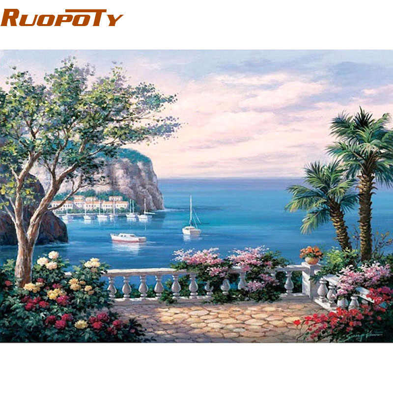 RUOPOTY Frame The Mediterranean Sea DIY Painting By Numbers Modern Wall Art Picture Acrylic Paint On Canvas For Home Decor 40x50