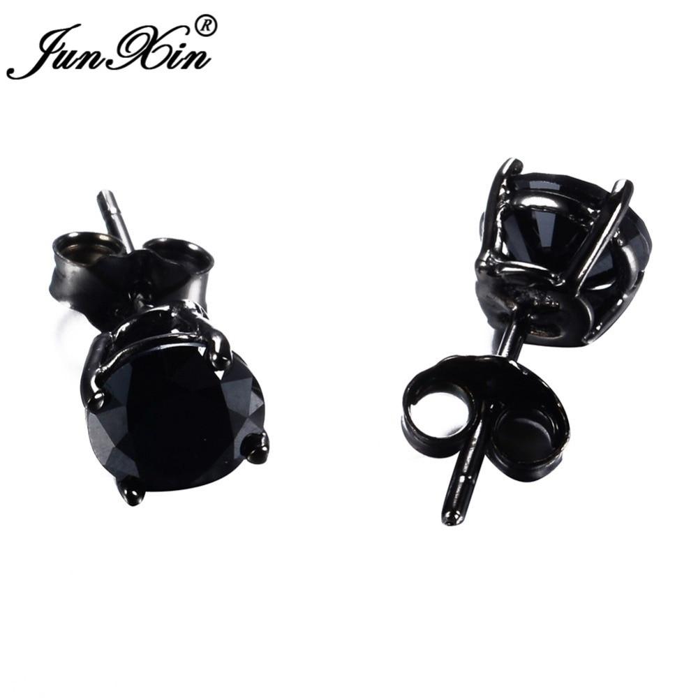 JUNXIN New Lover s Black Gold Earring Round Geometric Design 925 Sterling  Silver Fashion Black Earrings Studs For Men And Women-in Stud Earrings from  ... 2d5110983db9