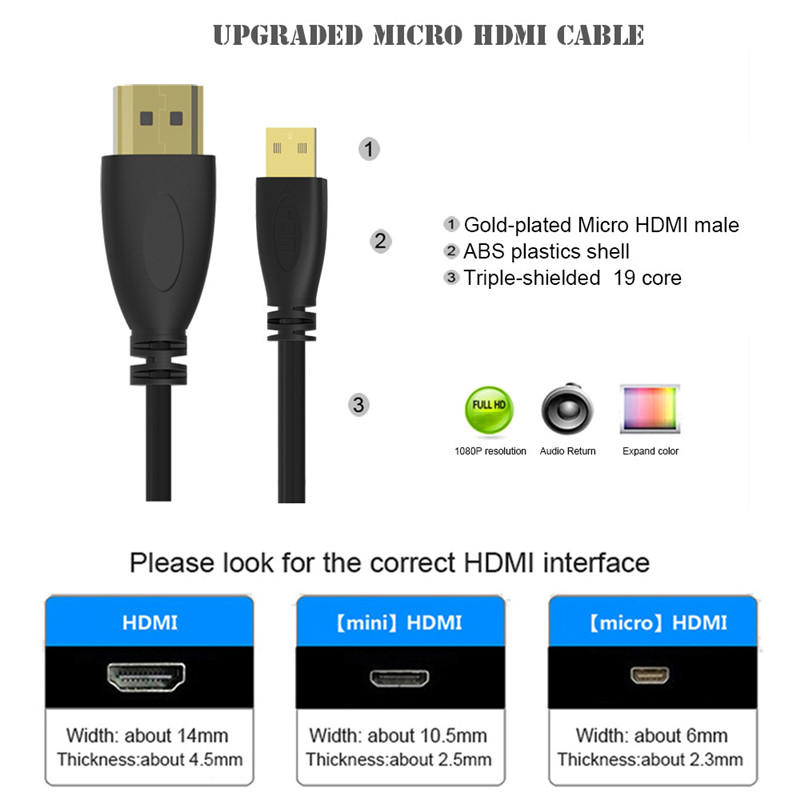 Image 2 - Spring Micro HDMI To HDMI Cable 3D 4K Gold plated Male To Male Micro HDMI Cable for Tablet Camera TV XBox-in Computer Cables & Connectors from Computer & Office